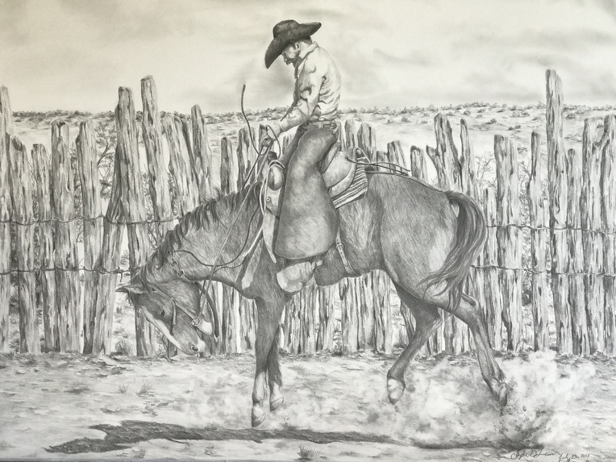 """""""Finding Out Who's Boss """" 24x28 pencil"""