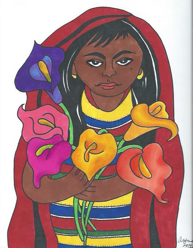 Mexican Girl with Calla Lilies