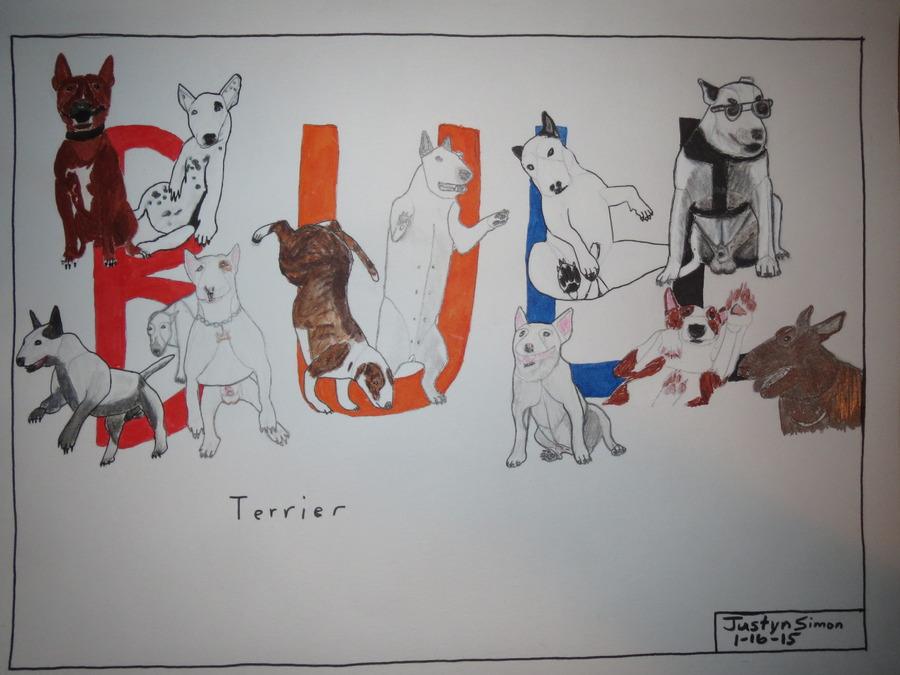 Bull Terrier word art drawing