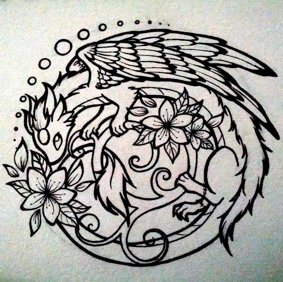 sakura dragon lineart