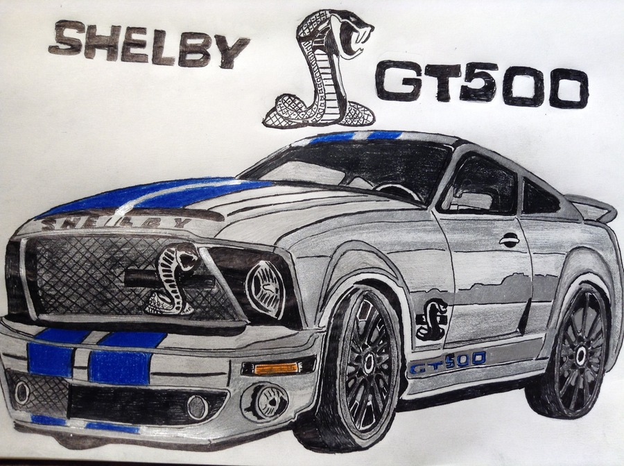 Silver Mustang Shelby GT500
