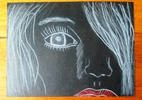 Girl On Black Paper